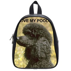 Poodle Love W Pic Black School Bags (Small)