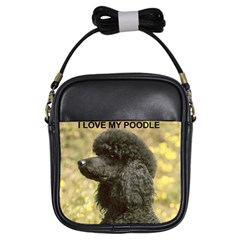 Poodle Love W Pic Black Girls Sling Bags