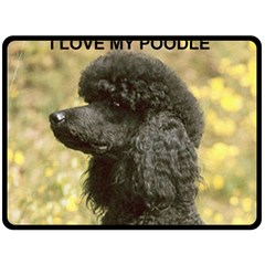 Poodle Love W Pic Black Fleece Blanket (Large)