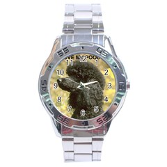 Poodle Love W Pic Black Stainless Steel Analogue Watch