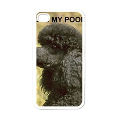 Poodle Love W Pic Black Apple iPhone 4 Case (White)