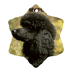 Poodle Love W Pic Black Snowflake Ornament (Two Sides)