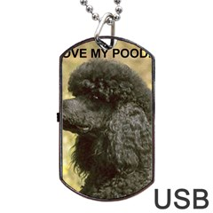 Poodle Love W Pic Black Dog Tag USB Flash (One Side)