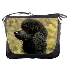 Poodle Love W Pic Black Messenger Bags