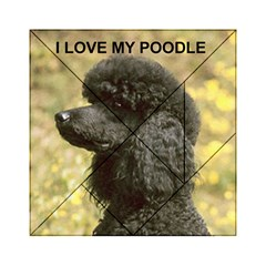 Poodle Love W Pic Black Acrylic Tangram Puzzle (6  x 6 )