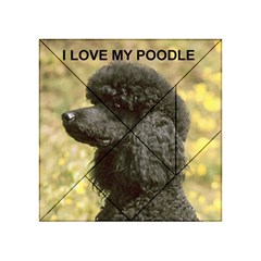 Poodle Love W Pic Black Acrylic Tangram Puzzle (4  x 4 )