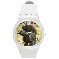 Poodle Love W Pic Black Round Plastic Sport Watch (M)