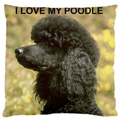 Poodle Love W Pic Black Large Cushion Case (One Side)