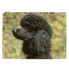 Poodle Love W Pic Black Cosmetic Bag (XXL)