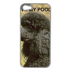 Poodle Love W Pic Black Apple iPhone 5 Case (Silver)