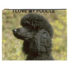 Poodle Love W Pic Black Cosmetic Bag (XXXL)