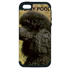 Poodle Love W Pic Black Apple iPhone 5 Hardshell Case (PC+Silicone)