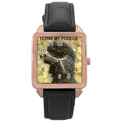 Poodle Love W Pic Black Rose Gold Leather Watch