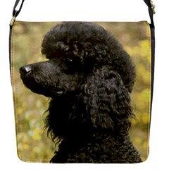 Poodle Love W Pic Black Flap Messenger Bag (S)