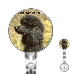 Poodle Love W Pic Black Stainless Steel Nurses Watch