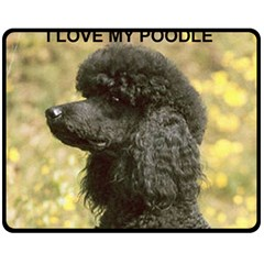 Poodle Love W Pic Black Double Sided Fleece Blanket (Medium)