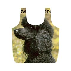 Poodle Love W Pic Black Full Print Recycle Bags (M)