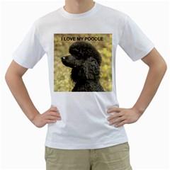 Poodle Love W Pic Black Men s T-Shirt (White)