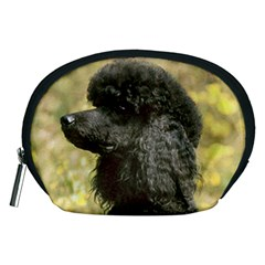 Poodle Love W Pic Black Accessory Pouches (Medium)