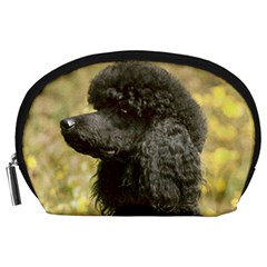 Poodle Love W Pic Black Accessory Pouches (Large)