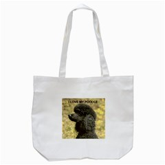 Poodle Love W Pic Black Tote Bag (White)