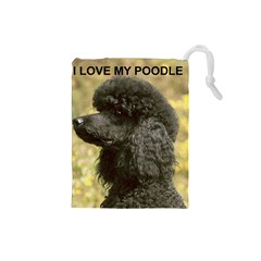 Poodle Love W Pic Black Drawstring Pouches (Small)