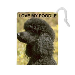 Poodle Love W Pic Black Drawstring Pouches (Large)