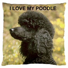 Poodle Love W Pic Black Large Flano Cushion Case (Two Sides)