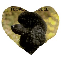 Poodle Love W Pic Black Large 19  Premium Flano Heart Shape Cushions