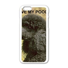 Poodle Love W Pic Black Apple iPhone 6/6S White Enamel Case