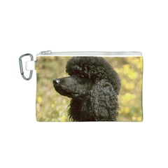 Poodle Love W Pic Black Canvas Cosmetic Bag (S)