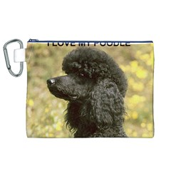 Poodle Love W Pic Black Canvas Cosmetic Bag (XL)