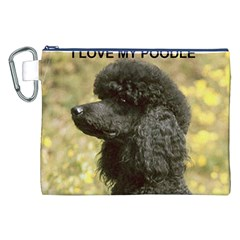 Poodle Love W Pic Black Canvas Cosmetic Bag (XXL)