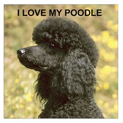 Poodle Love W Pic Black Large Satin Scarf (Square)