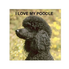Poodle Love W Pic Black Small Satin Scarf (Square)