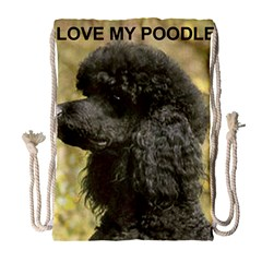 Poodle Love W Pic Black Drawstring Bag (Large)