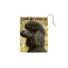 Poodle Love W Pic Black Drawstring Pouches (XS)
