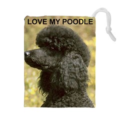Poodle Love W Pic Black Drawstring Pouches (Extra Large)