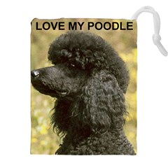 Poodle Love W Pic Black Drawstring Pouches (XXL)