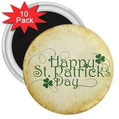 Irish St Patrick S Day Ireland 3  Magnets (10 pack)