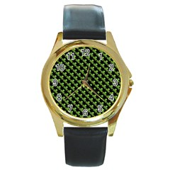 St Patrick S Day Background Round Gold Metal Watch