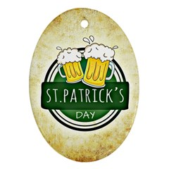 Irish St Patrick S Day Ireland Beer Oval Ornament (two Sides)