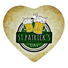 Irish St Patrick S Day Ireland Beer Heart Ornament (Two Sides)