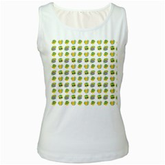 St Patrick S Day Background Symbols Women s White Tank Top