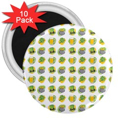 St Patrick S Day Background Symbols 3  Magnets (10 pack)