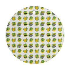 St Patrick S Day Background Symbols Round Ornament (Two Sides)
