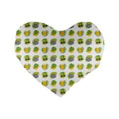St Patrick S Day Background Symbols Standard 16  Premium Flano Heart Shape Cushions