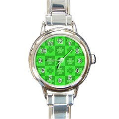 Fabric Shamrocks Clovers Round Italian Charm Watch