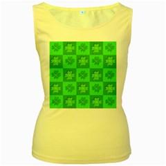 Fabric Shamrocks Clovers Women s Yellow Tank Top