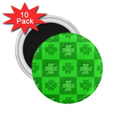 Fabric Shamrocks Clovers 2.25  Magnets (10 pack)